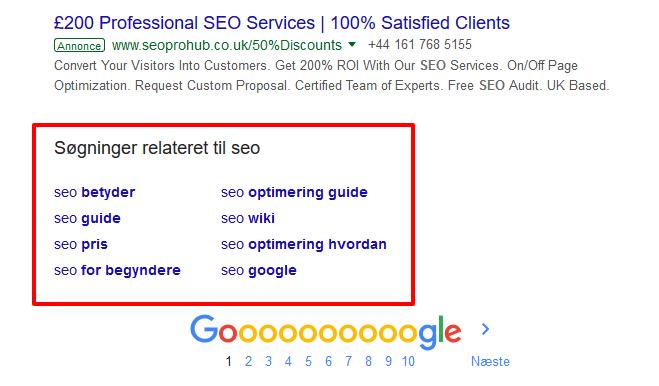 Relaterede resultater: I Google vises relaterede resultater i bunden af alle søgeresultatsider