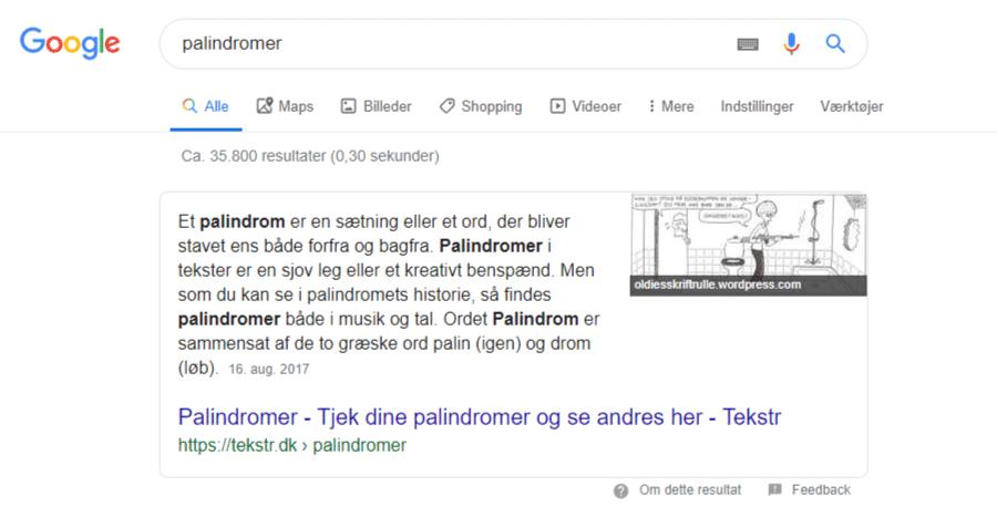 Rank zero er et søgeresultat, der bliver vist før den normale førsteplads med fremhævet indhold fra eksempelvis teksten i din artikel
