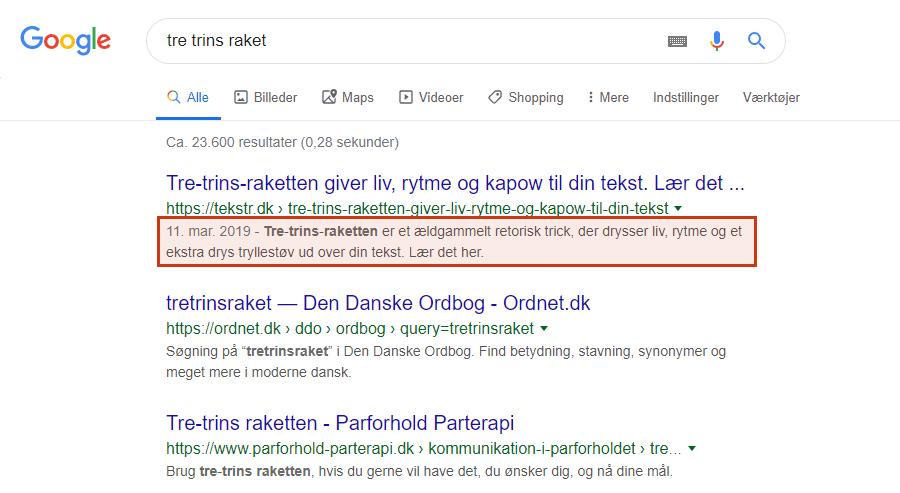 Meta description er den tekst, der bliver vist under titlen, når dit indhold bliver vist i søgemaskinerne