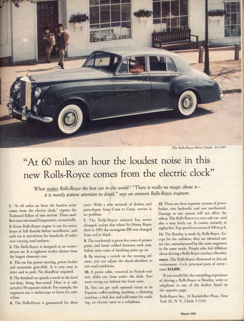 Reklame for Rolls-Royce med Ogilvys måske bedste overskrift.