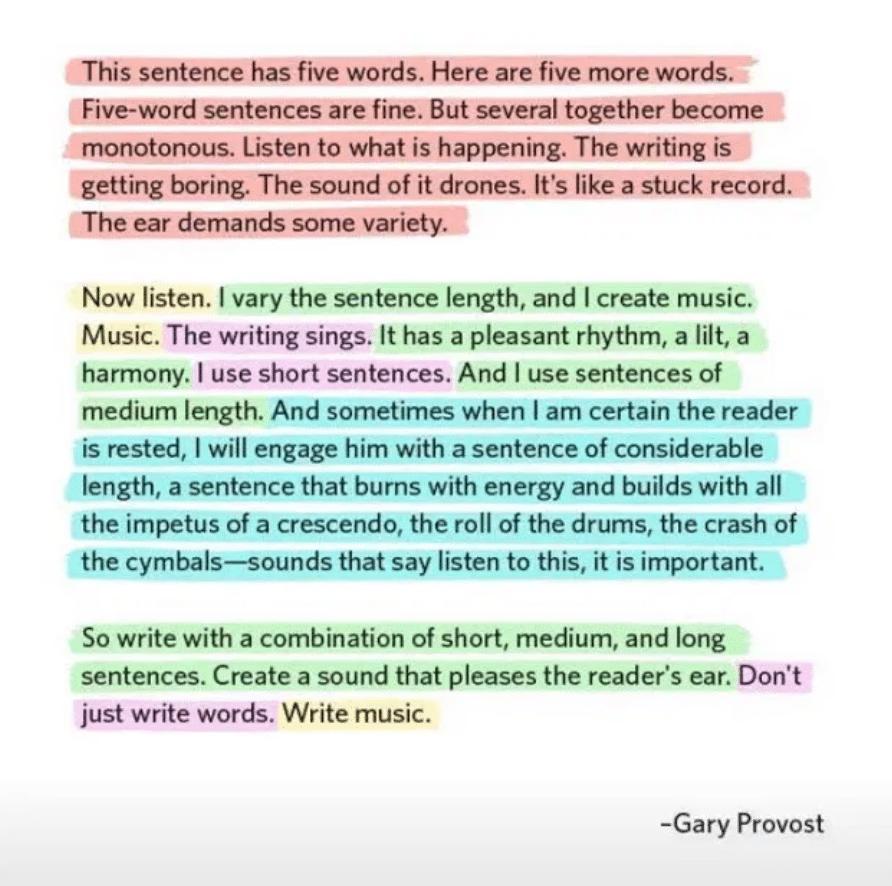Foto af Gary Provosts geniale tekst, hvor sætningslængden er markeret med farver.