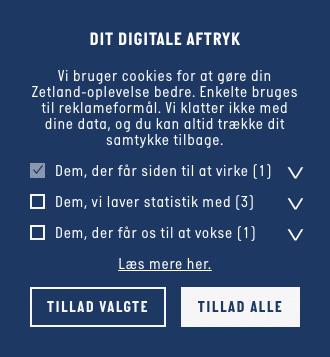 Skærmbillede af cookiedeklaration fra hjemmesiden for nyhedsmediet Zetland.dk.